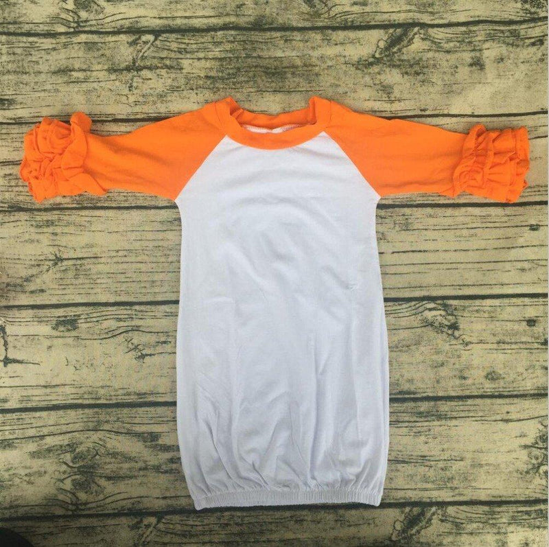 Orange Raglan Ruffle Sleeve