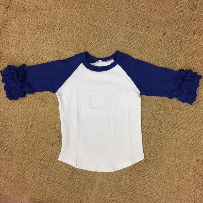 Royal Blue Raglan Ruffle Tee
