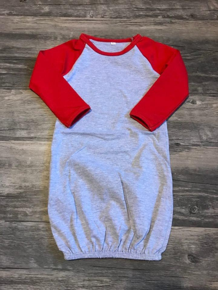 Red/Heather Baby Gown No