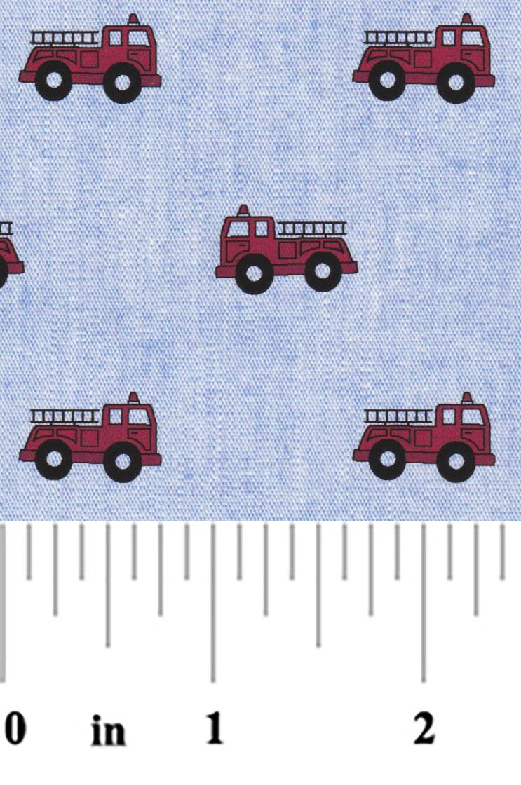 Fire Truck on Chambray 2321
