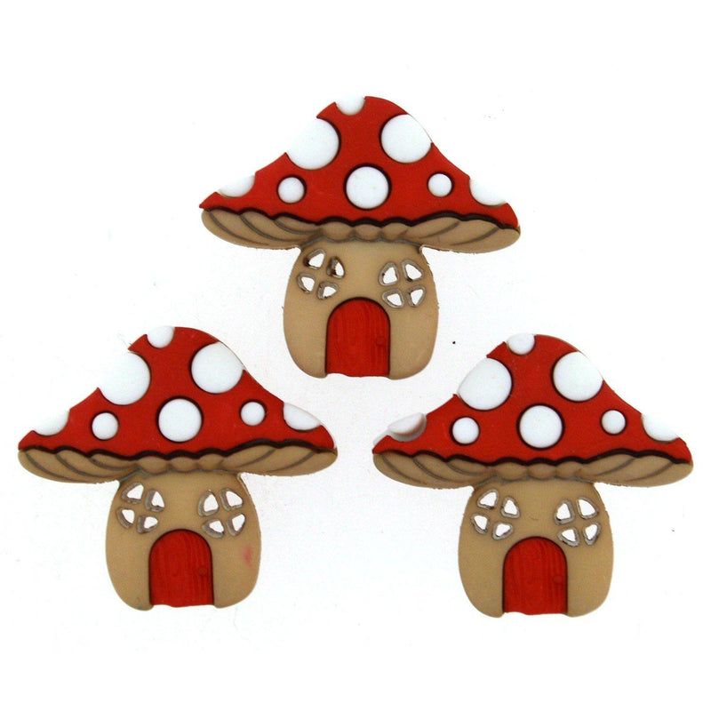 Mushroom Houses 3ct. Button