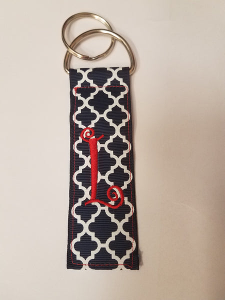 Monogrammed Initial Key Chain- Navy Quatrefoil