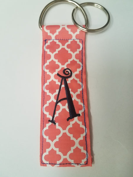 Monogrammed Initial Key Chain- Coral Quatrefoil