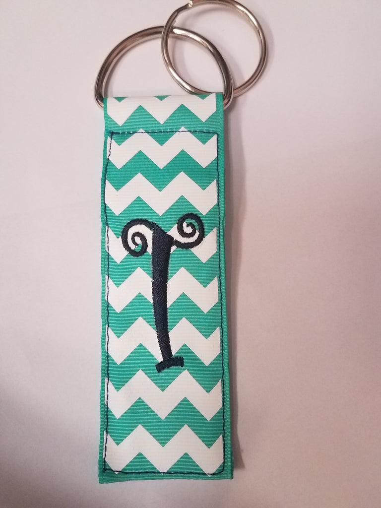 Monogrammed Initial Key Chain- Teal Chevron