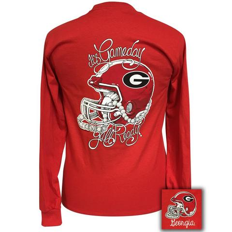 T-Shirt Georgia Gameday Helmet and Pearls Long Sleeve