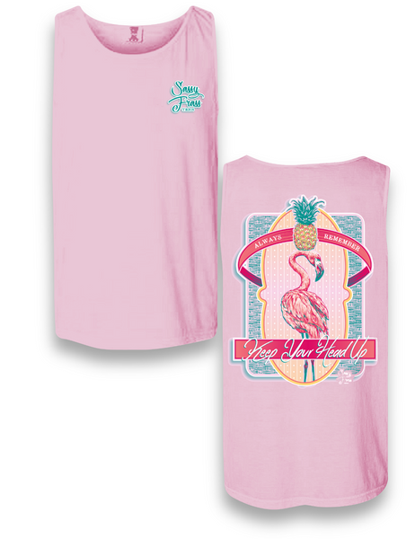 "Sassy Frass ""Flamingo Keep your Head up"" Tank Top"