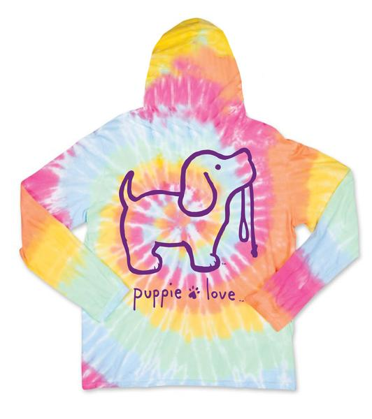 Puppie Love Tye Dye Hooded Long sleeve
