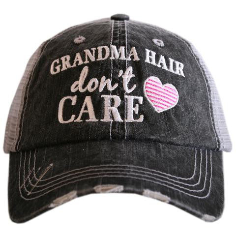 Katydid Grandma Hair Don't Care Trucker Hat - 2 Color Choices