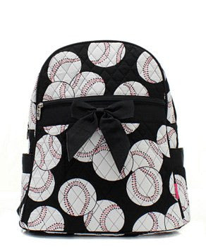 Baseball Print Quilted Backpack