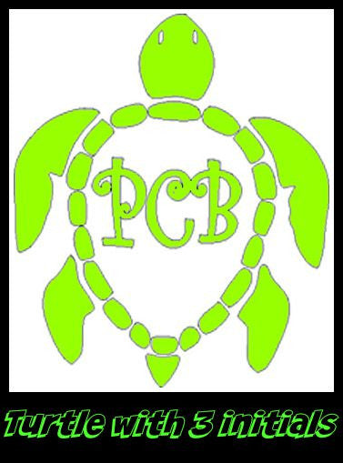 3 Initial Monogram Turtle Decal