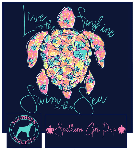 "Southern Girl Prep  ""Live in the Sunshine"" Turtle Long Sleeve T-shirt"