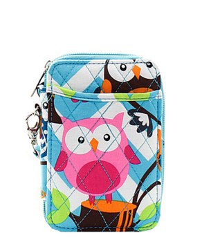 Quilted Wristlet Wallet Chevron Owl Print - 2 Color Choices