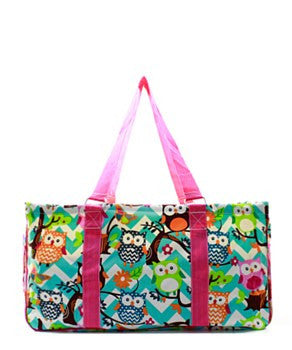Utility Tote Large - Chevron Owl Print - 2 Color Choices