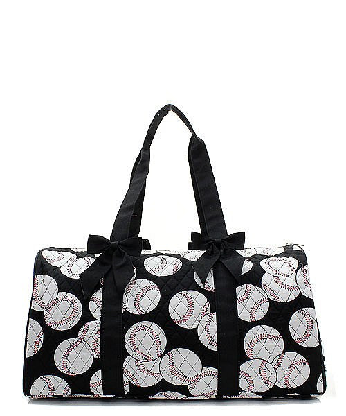 Baseball Print Quilted Duffel Bag