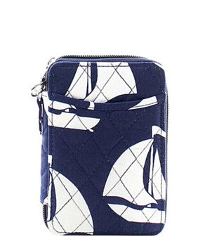 Quilted Wristlet Wallet Sailboat Print