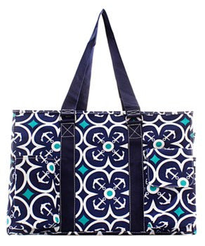 Utility Tote Multi-Pocket - Anchor Print