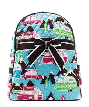Happy Camper Print Quilted Backpack - 2 Color Choices