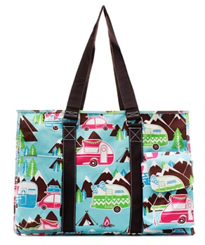 Utility Tote Multi-Pocket - Happy Camper Print - 2 Color Choices