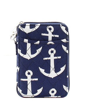 Quilted Wristlet Wallet Anchor Print