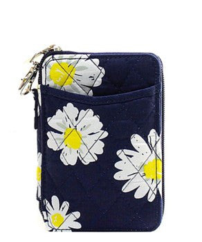Quilted Wristlet Wallet Daisy Print