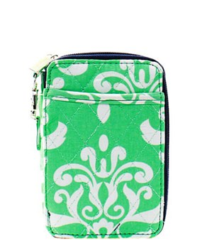 Quilted Wristlet Wallet Damask Bloom Print