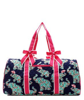 Elephant & Umbrella Print Quilted Duffel Bag - 2 Color Choices