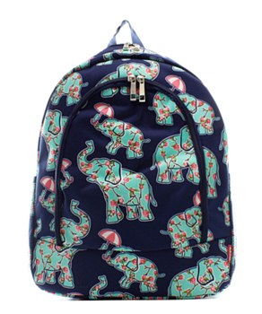 Elephant & Umbrella Print Backpack