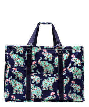 Utility Tote Extra Large - Elephant & Umbrella Print - 2 Color Choices