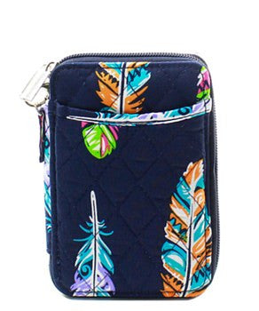 Quilted Wristlet Wallet Feather Print