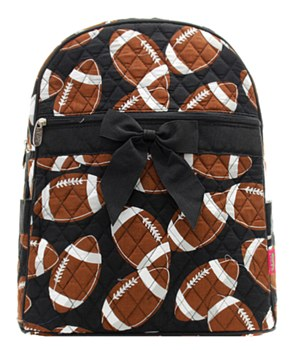 Football Print Quilted Backpack
