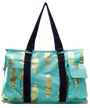 Utility Tote Multi-Pocket - Feather Print - 2 Color Choices
