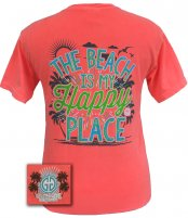 "Girlie Girl Originals "" The Beach is my Happy Place"" Comfort Colors T-shirt"