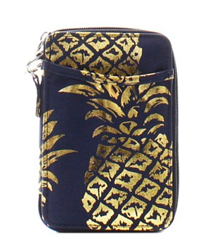 Quilted Wristlet Wallet Pineapple Print
