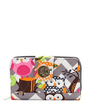 Quilted Wallet Chevron Owl Print