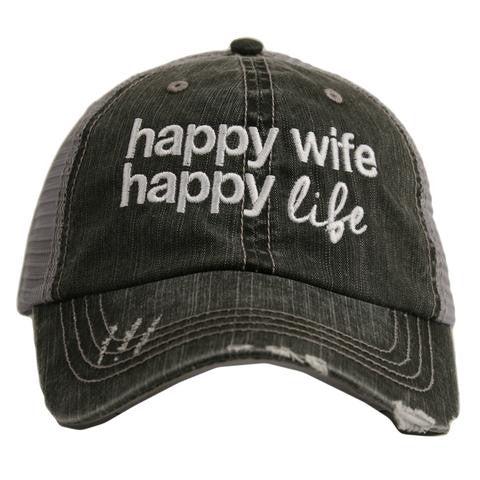 Katydid Happy Wife, Happy Life Trucker Hat