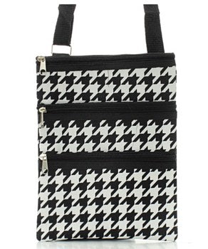 Houndstooth Print Messenger Bag - 2 Color Choices