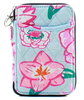Quilted Wristlet Wallet Flower Print