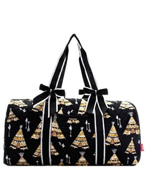 Teepee Print Quilted Duffel Bag