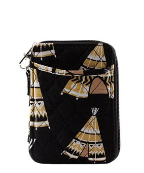 Quilted Wristlet Wallet Teepee Print