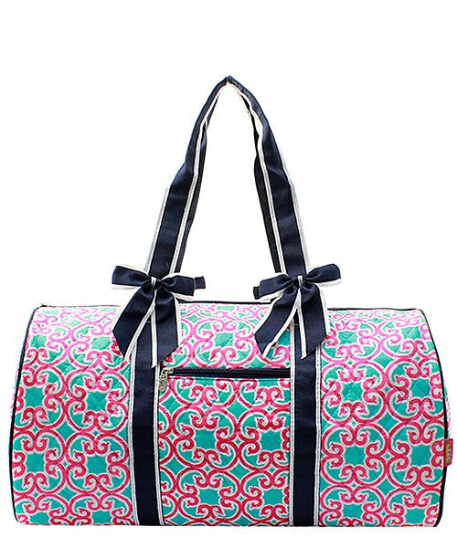 Geometric Print Quilted Duffel Bag