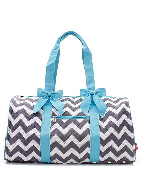 Chevron Print Quilted Duffel Bag - 4 Color Choices