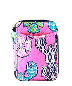 Quilted Wristlet Wallet Lobster Print