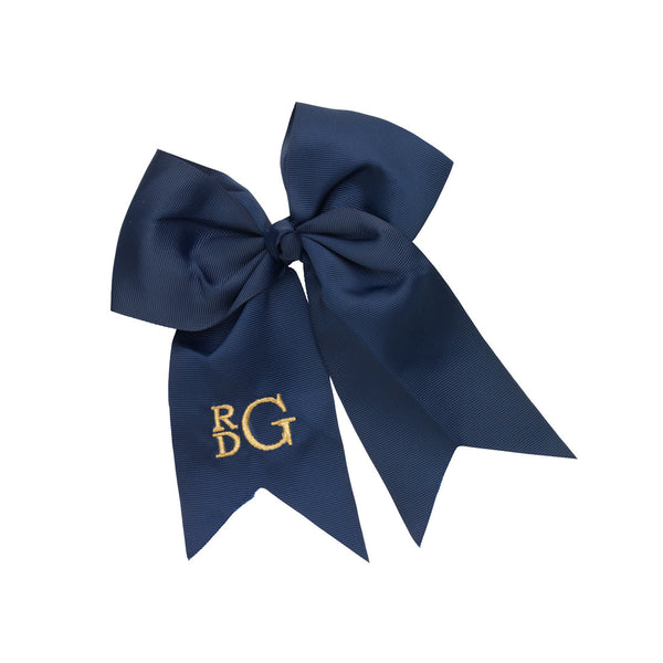 Navy Hairbow w/ Monogram