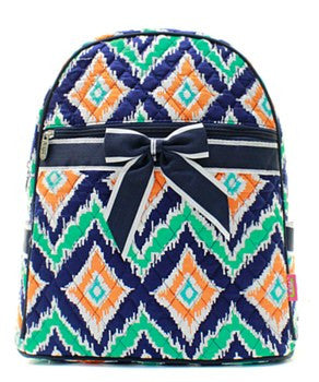 Ikat Print Quilted Backpack - 2 Color Choices