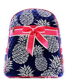 Pineapple Print Quilted Backpack - 2 Color Choices