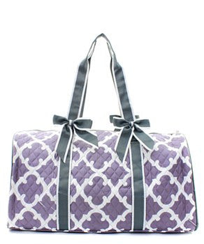Geometric Print Quilted Duffel Bag - 2 Color Choices