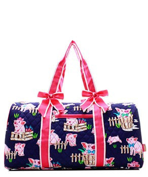 Pig Print Quilted Duffel Bag - 2 Color Choices
