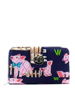 Quilted Wallet Piglet Print