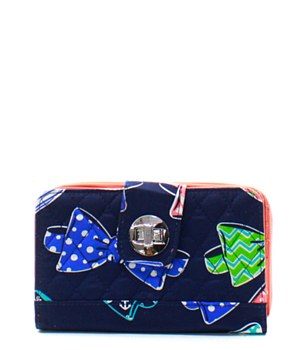 Quilted Wallet Bow Tie Print - 2 Color Choices