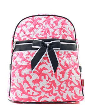 Damask Quilted Backpack - 3 Color Choices